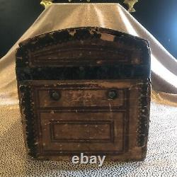 Antique 19th Century Fitted Miniature Doll Travel Steamer Trunk