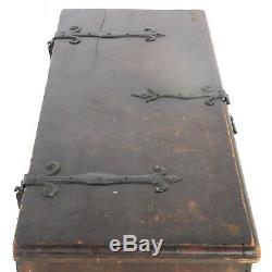 Antique 48 Pine 6 Board Blanket Chest Trunk with Fancy Wrought Iron Hardware