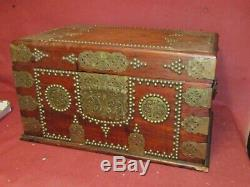 Antique Anglo Indian Small Fitted Trunk or Lap Desk Asian Brass Mounted