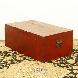 Antique Asian Chinese 31 Wide Red Trunk Chest w Beautuful Carvings on Front