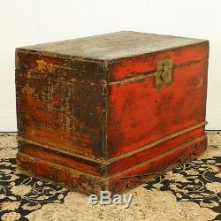 Antique Asian Chinese 34 wide Red front Trunk Chest w Carved base
