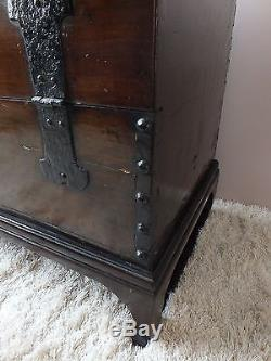 Antique Asian Elm Wood Trunk Table Chest Coffer