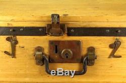 ^ Antique British Dovetailed Wood & Iron Strong Box Trunk w. SECURE 4 LEVER Lock