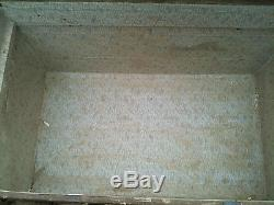Antique Brown Canvas with Wood Flat Top Steamer Trunk 1890's