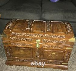 Antique Camphor Wooden Carved Trunk Hope Chest Gold Copper Inlay Box Heavy