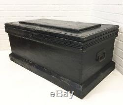 Antique Carpenter's Tool Chest with KEY Wood Trunk Blanket Storage Coffee Table