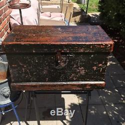 Antique Carpenters Tool Chest Box Trunk Character! Wood Wooden Woodworking Vtg