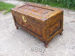 Antique Carved Asian Chinese Oriental Style Camphor Wood Chest Storage Trunk Box