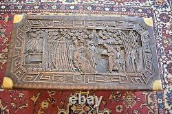 Antique Carved Chinese Camphor Chest Trunk, Made in China