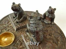 Antique Carved Wood Black Forest 3 Bears Table Music Box Tree Trunk Base Smokers