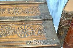 Antique Carved Wood Child's Doll Trunk Chest Metal Banding Nailheads