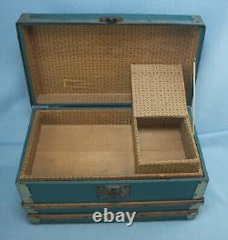 Antique Child Doll Steamer Trunk withTray & Hat Box- Wood & Metal Straps