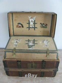 Antique Childs Doll Trunk Stenciled Paper Wood Slats Brass Decorated Shelf Sweet