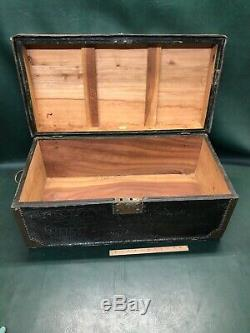 Antique Chinese Export Trunk Camphor Wood Leather With Brass Edging