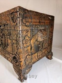 Antique Chinese Hand Carved Camphor Trunk/Chest