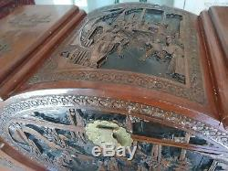 Antique Chinese Hand Carved Chest Trunk camphor wood 1950's