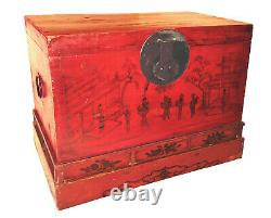 Antique Chinese Hand Painted Red Trunk (2789), Circa 1800-1849