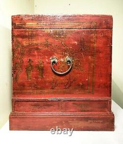 Antique Chinese Hand Painted Trunk (3416), Red Lacquer, Circa 1800-1849