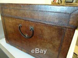 Antique Chinese Leather Camphor Wood Trunk c1900