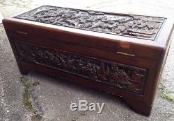 Antique Chinese Ornately Carved Camphor Wood Trunk