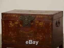Antique Chinese Red Lacquer Trunk Gold Painted Decoration Kuang Hsu Period, 1875