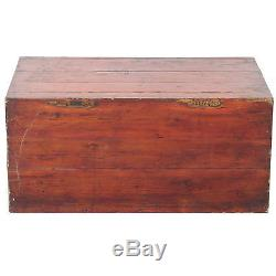 Antique Chinese Trunk 31 X 14 Tall, Butterfly Hardware Painted & Carved Front