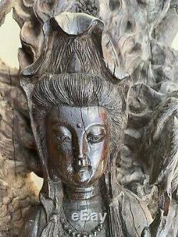 Antique Chinese Wood Carving Statue Dragons Buddha Guanyin Tree Trunk Huge