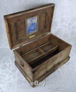 Antique Civil War Era Dovetailed Wood Toolbox Tool Box Trunk Handmade by Soldier