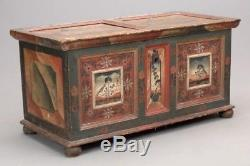 Antique Continental Painted Blanket Chest Tack Trunk Coffee Table 18th c