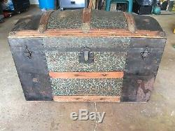 Antique Cross Slatted Trunk Wood And Metal