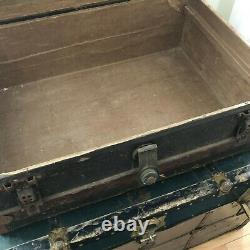 Antique Crouch & Fitzgerald Travel Trunk Low Profile Coffee Table