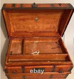 Antique Dome Hump Top Doll Steamer Trunk Wooden Chest CHILDS DOLL SIZE 11x16x9