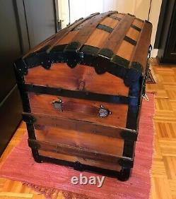 Antique Dome Steamer Trunk 1880 Vintage from Portugal Lock, Keys, Tray