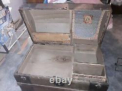 Antique Dome Top Steamer Captains Chest Trunk with Tray