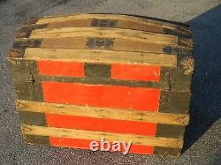 Antique Dome Top Trunk Painted Red Musty / Mildew Odor Inside