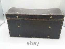 Antique Domed Small Black Trunk Wood Metal Leather Trims Tray Compartments