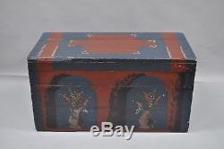 Antique Dovetailed Blanket Chest Wooden Hope Trunk Primitive Blue Red Painted