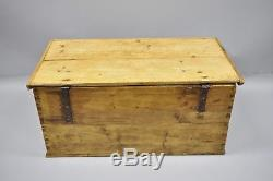 Antique Dovetailed Primitive Pine Wood Colonial Blanket Hope Chest Trunk