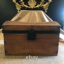 Antique Early 19th Century Miniature Doll Travel Steamer Trunk