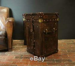 Antique English Leather Handmade Trunks Bridle Finest Occasional Side Trunks