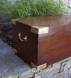 Antique English Teak Wood Shipu0027s Travel Storage Trunk Great Coffee Table  C1880