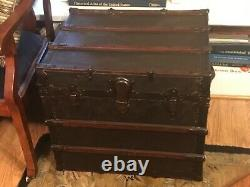 Antique Estate Steamer Half Trunk Chest with Handles & Tray