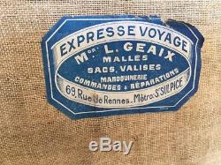 Antique Expresse Voyage French Trunk Black Canvas Leather Wicker Wood