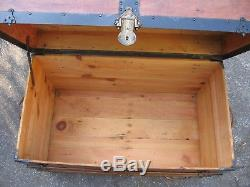 Antique Flat Slat Top Steamer Trunk Stage Coach Chest Coffee Table Restored