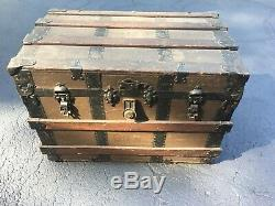 Antique Flat Top Steamer Trunk Chest- Solid Piece to Restore