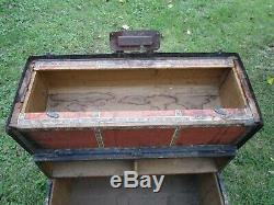 Antique Flat Top Steamer Trunk wood slats Pirate Chest Coffee Table restore