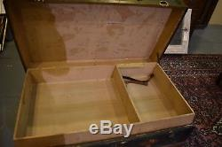 Antique Flat Top Vintage Pirate's Chest Railroad Steamer Trunk