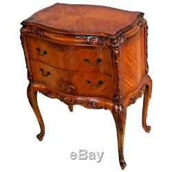 Antique French Bombay Chest Hand carved chevron inlays satin wood
