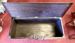 Antique French Breton Brittany Wood Carved Trunk Blanket Chest Coffee Table