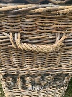 Antique French/European Wicker Basket Chest/Trunk Immigration Shipping Rattan
